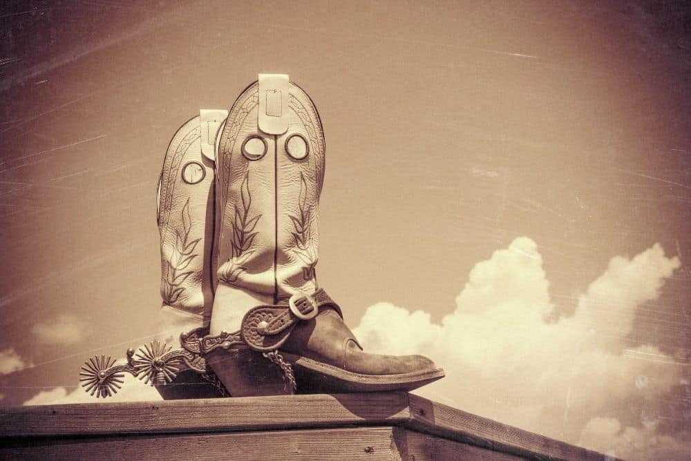 black-white cowboy boots stand on the wood floor