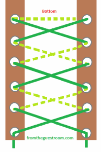 This method of lacing is similar to the traditional or standard criss-cross method. However, there are a few changes to the threading of the laces. These have been given in the steps below. Step 1: Take the two lace ends and go underneath the first two eyelets at the bottom. Pull the laces outwards, through the eyelets. Step 2: Cross the laces and thread them through the next eyelets. This time the movement should be from the outside to the inside. Step 3: Now cross the laces again. Then, pull them through the next pair of eyelets. The movement should be from the inside to the outside. Step 4: Repeat steps 2 and 3 and keep alternating the threading movement, till you reach the top. This will give an X pattern to the laces threaded between each pair of eyelets.
