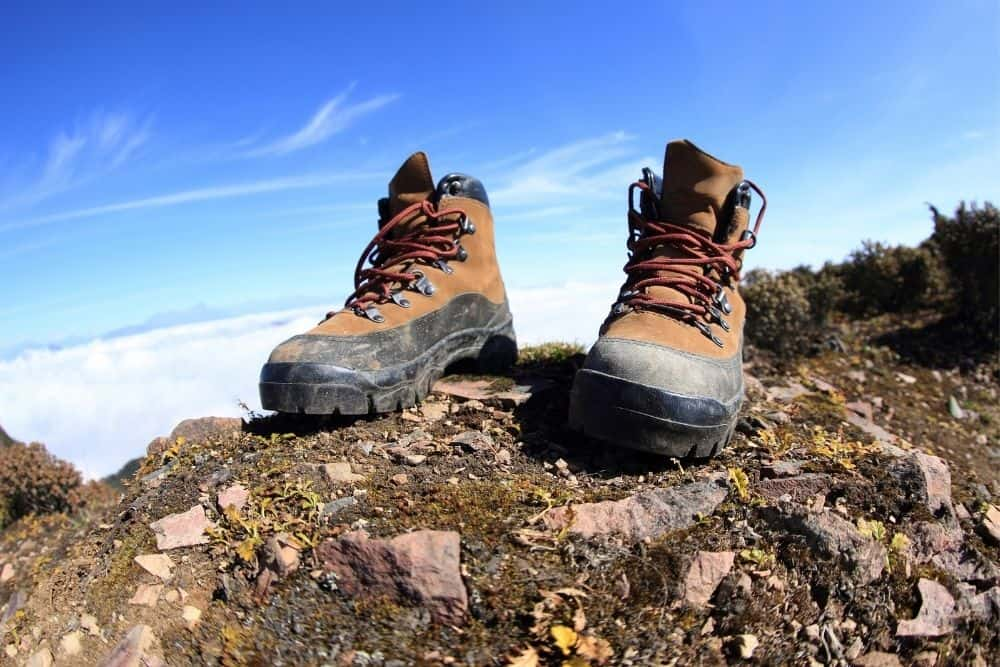 hiking boots on the ground
