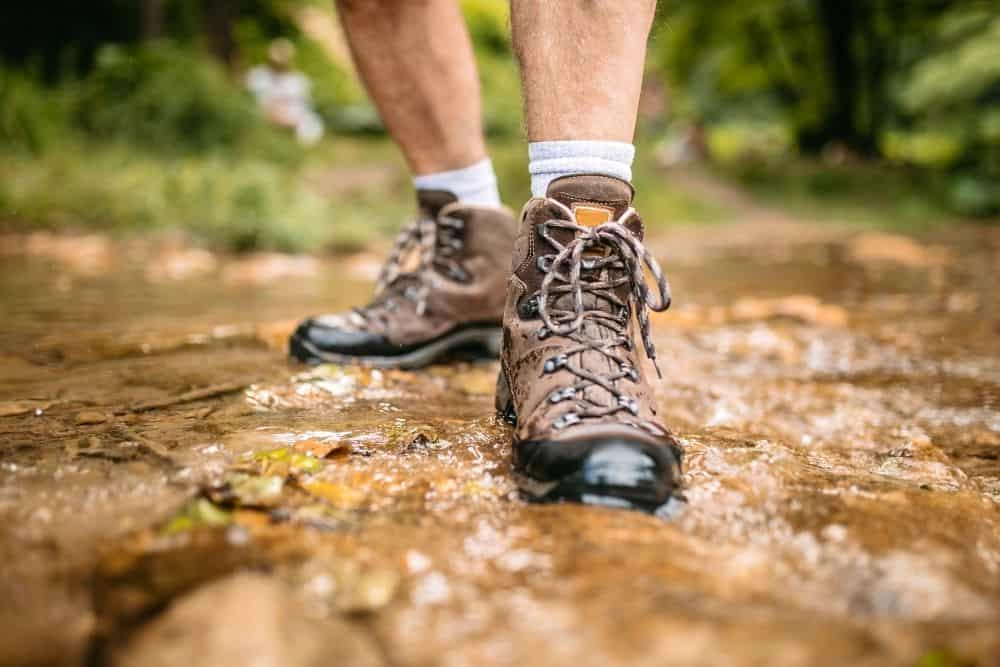non slip hiking boots on slippery and wet terrain