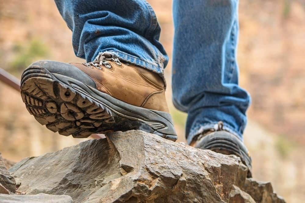 slip resistant sole of hiking boots on rocks