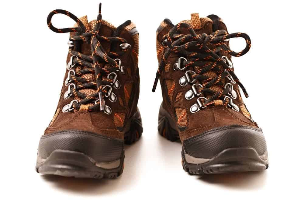 1 pair of black red hiking boots