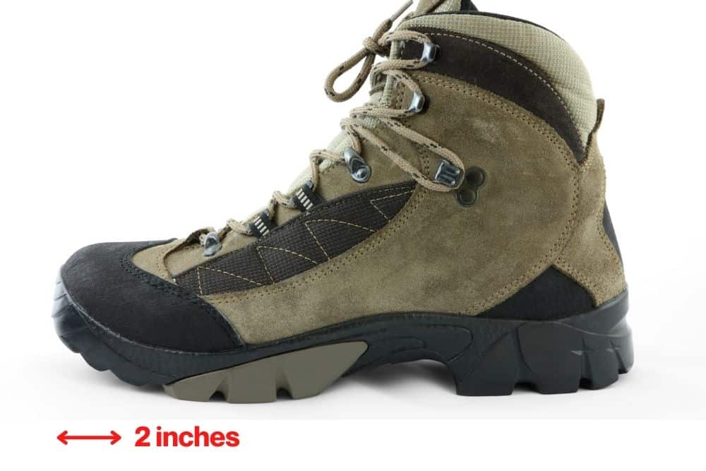 2 inches toe room hiking boots