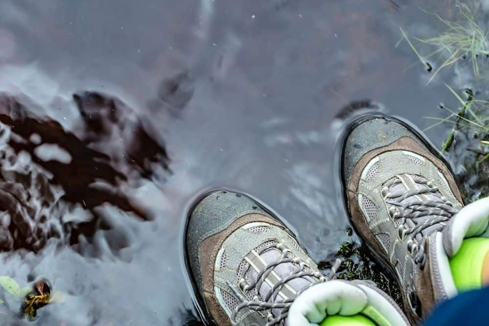 Steel toed hiking boots stay wet for longer