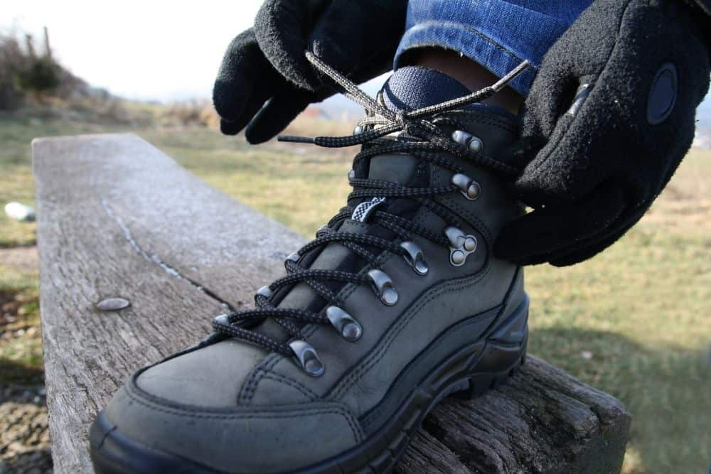 Tie The Laces Around Your Ankles While Wearing Hiking Boots