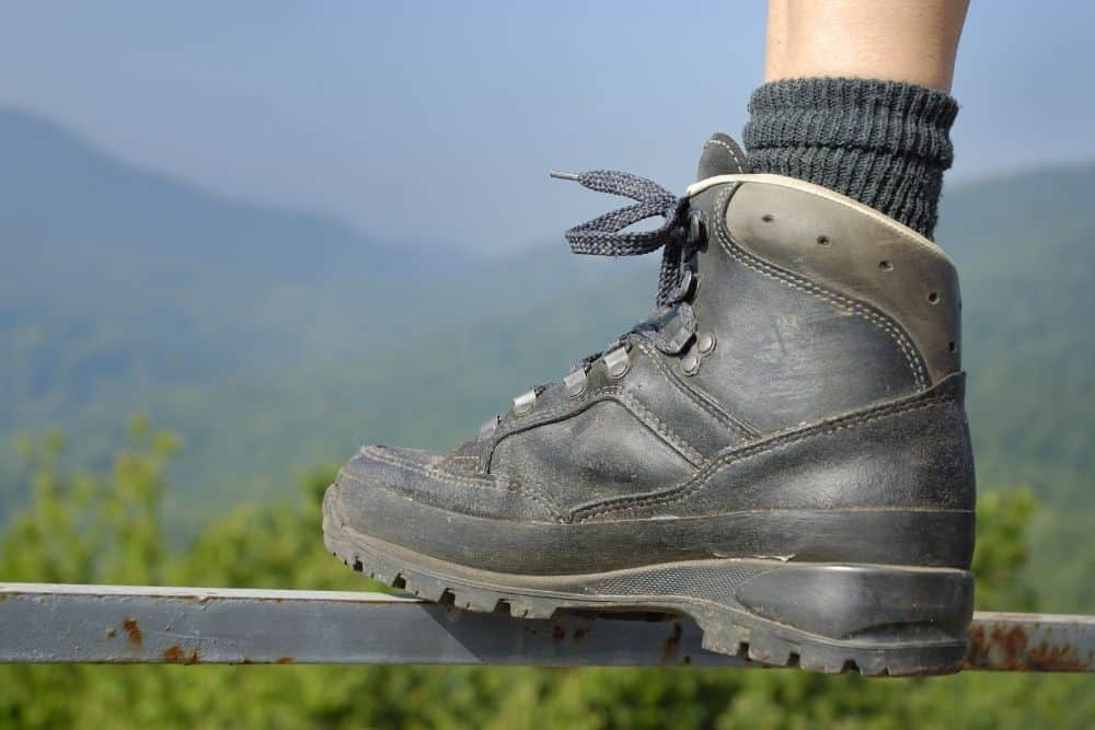 a durable black hiking boot