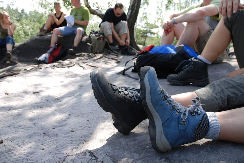 a group of hikers wearing hiking boots for running