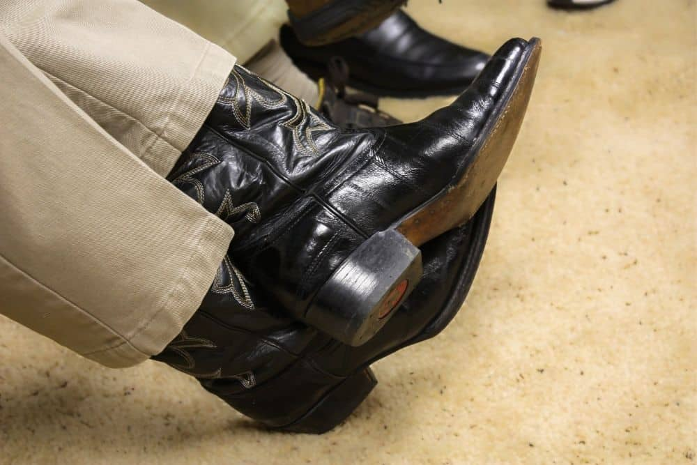 black cowboy boots made from full grain leather