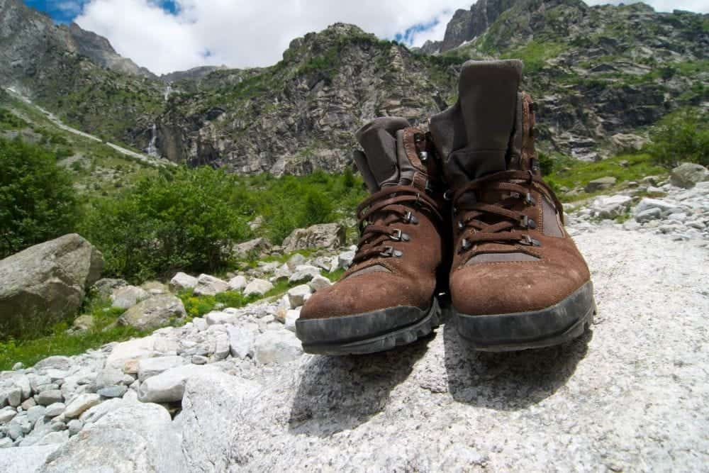 brown suede hiking boots on mountain