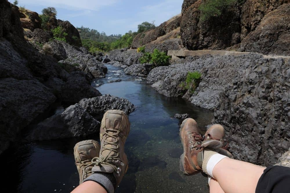 cozy and comfortable socks for hiking boots in rough terrain