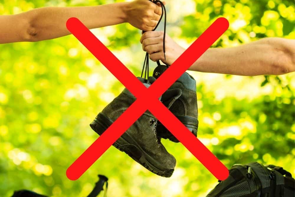 don't lend hiking boots for someone with bigger foot size