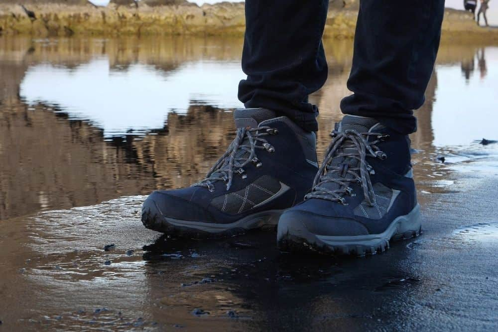 dyed hiking boots that are less susceptible to water or light damage