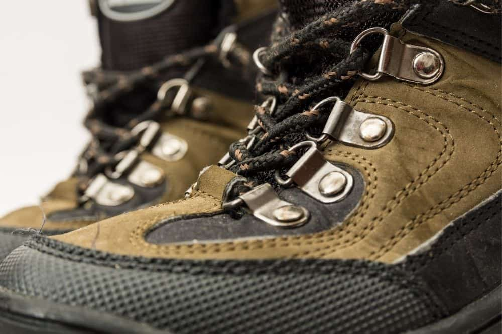 eyelets and vented holes of hiking boots provide ventilation