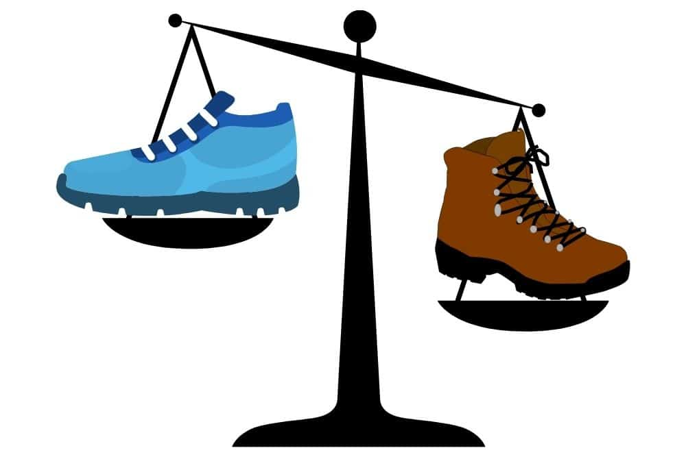 hiking boots are heavier than running shoes