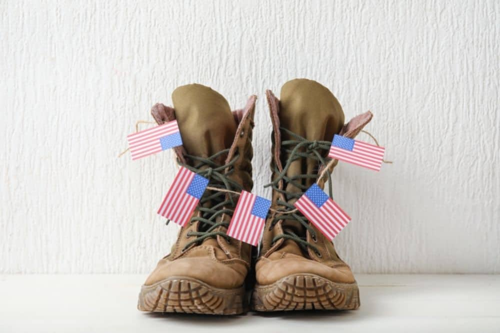 made in usa tactical boots with five mini American flags
