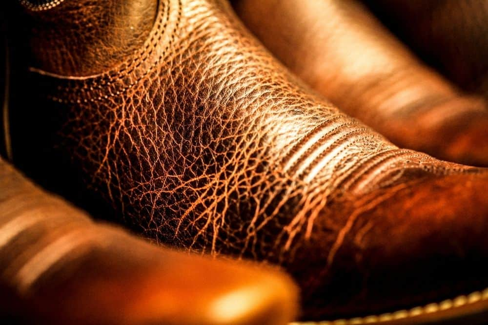 marks on leather upper of cowboy boots
