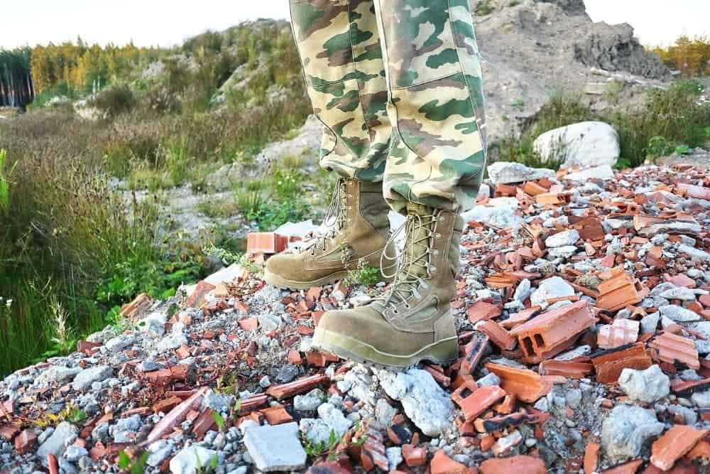 military boots with high safety on rocky terrain