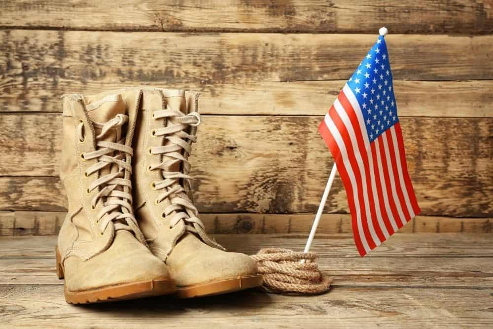 tactical boots and american flag