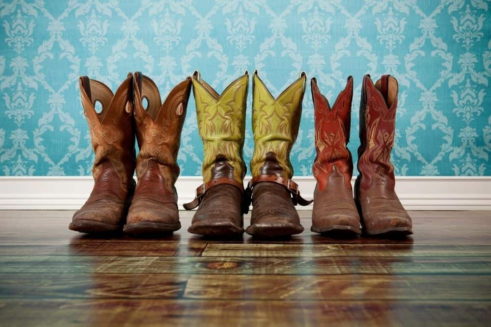 three pairs of cowboy boots with deep V cut