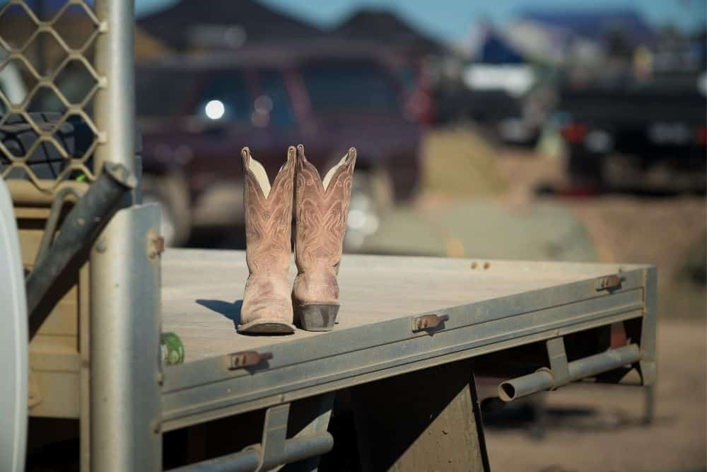 cowboy boots on the truck