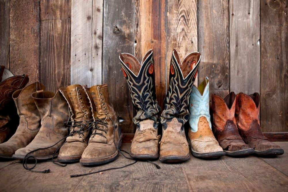 many pairs of cowboy boots