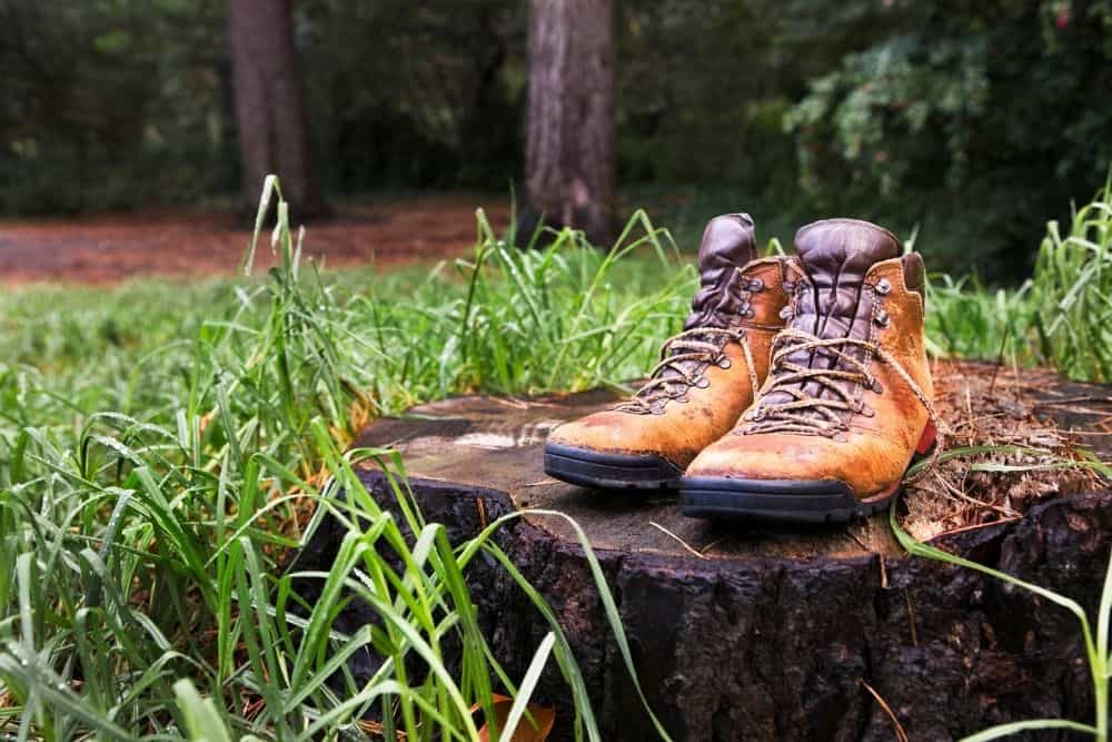 old hiking boots on a stump