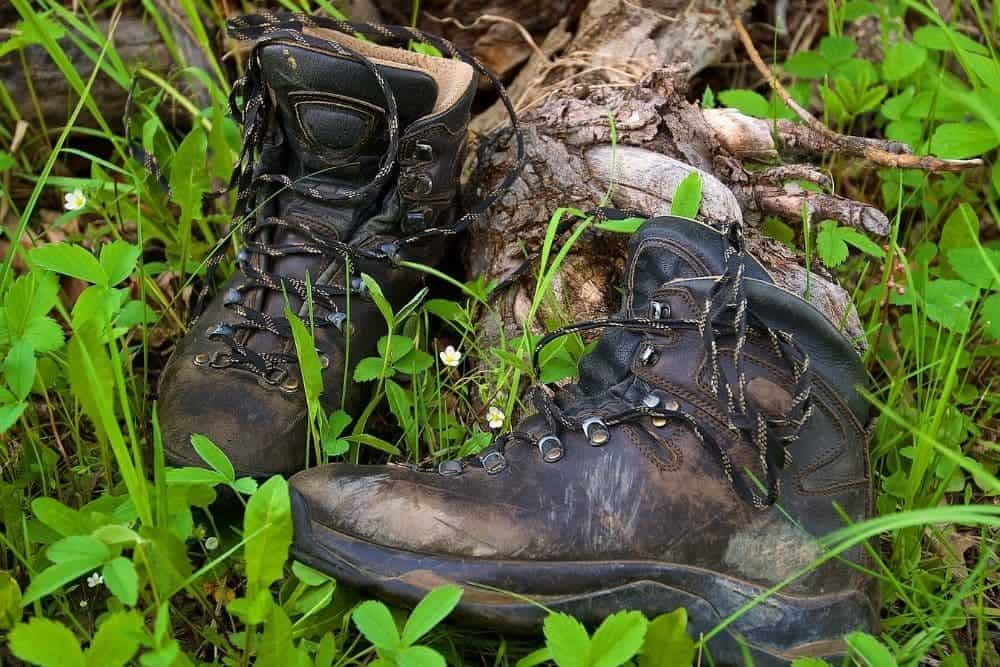 ugly hiking boots in a forest